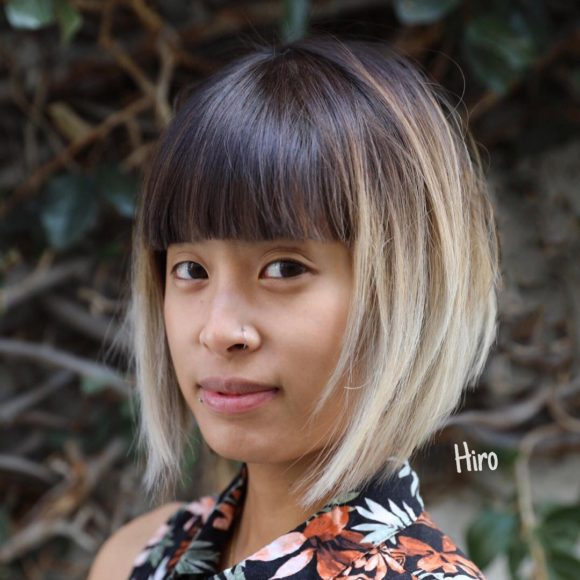 Textured Bob with Blunt Brow Skimming Bangs and Ombre Short Hairstyle