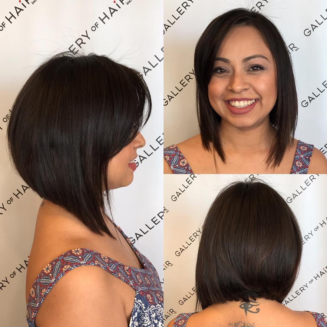 Textured Brunette A-line Bob with Side Swept Bangs Medium Length Hairstyle