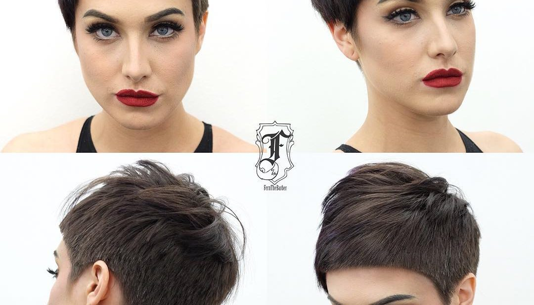 Textured Brunette Pixie with Blunt Lines and Top Fringe Lengths Short Hairstyle