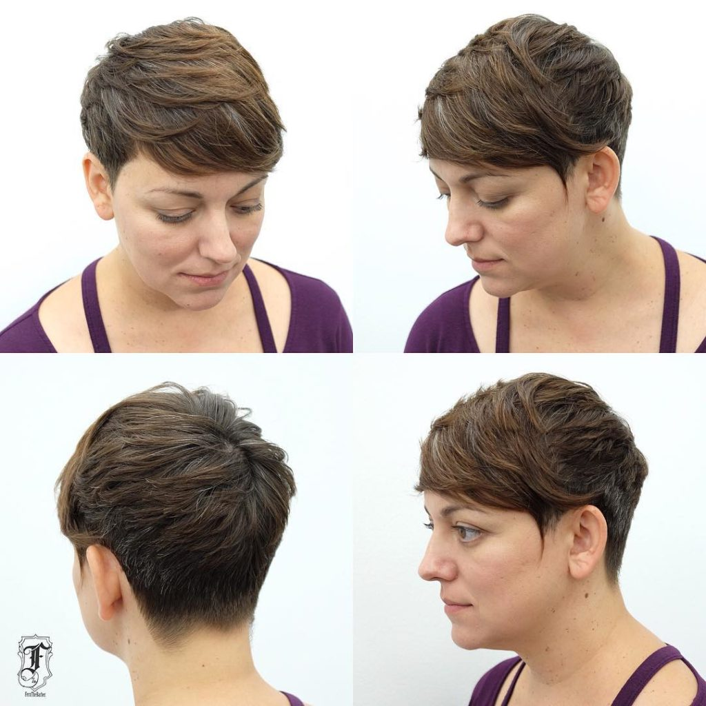 Textured Brunette Side Swept Pixie with Bangs and Highlights Short Hairstyle