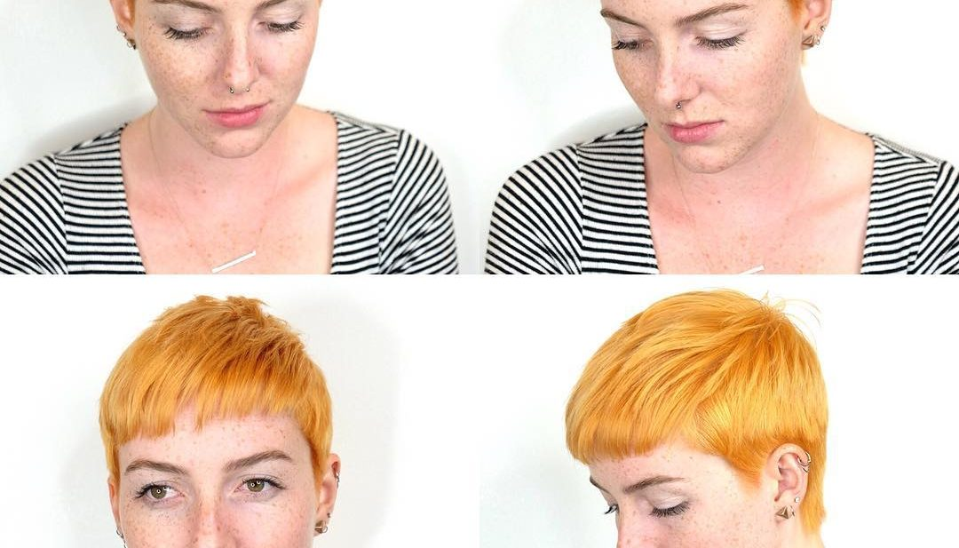 Textured Ginger Crop with Baby Bangs and Taper Short Hairstyle