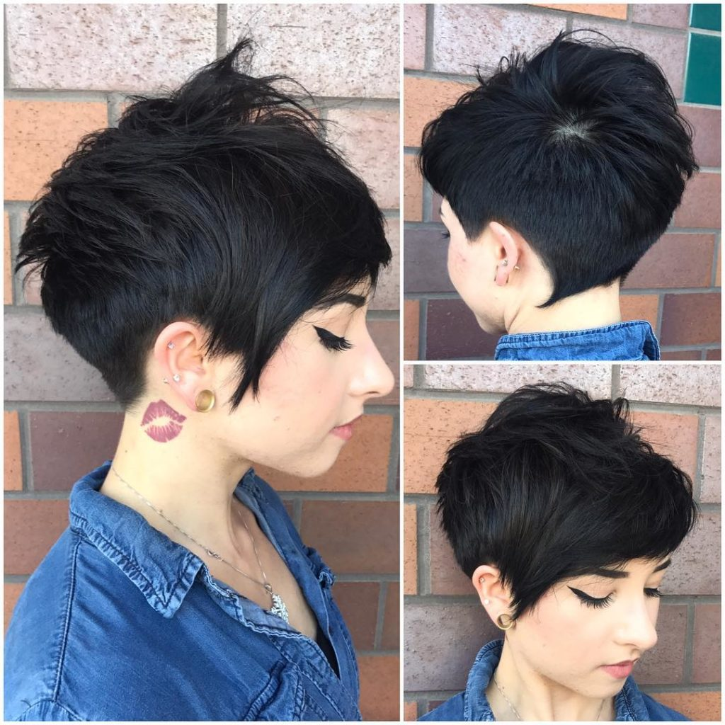 Chic Textured Messy Pixie with Side Swept Bangs on Black Hair Short Hairstyle