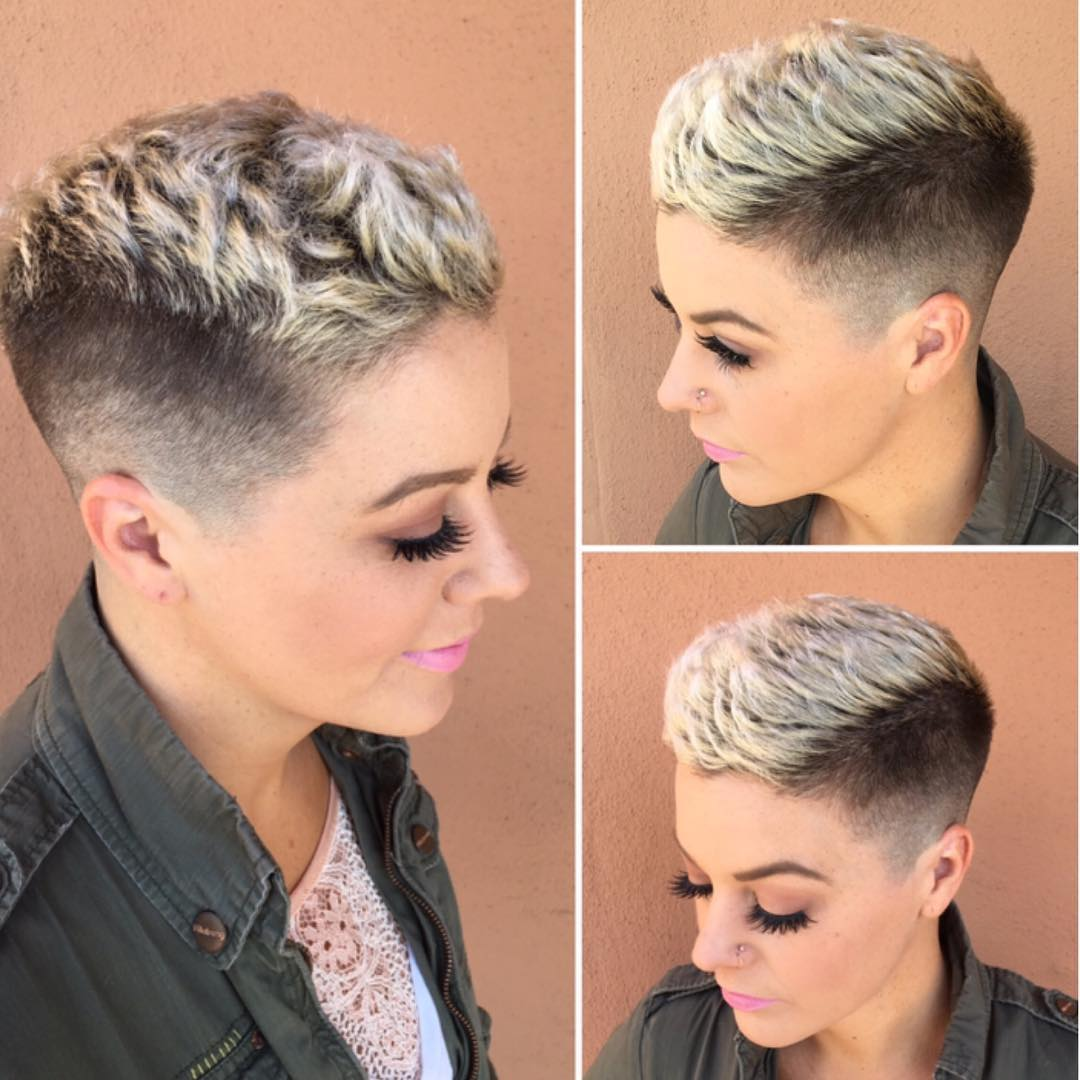 Textured Pixie with Taper Fade and Platinum Frosted Tips Short Hairstyle