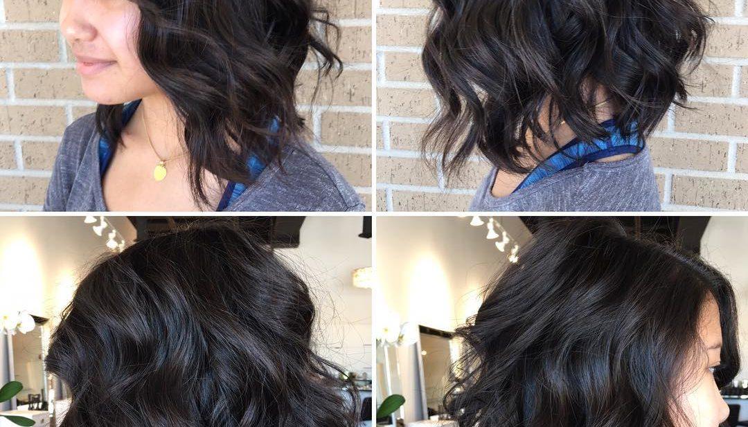 Textured Wavy Bob on Dark Hair Medium Length Hairstyle