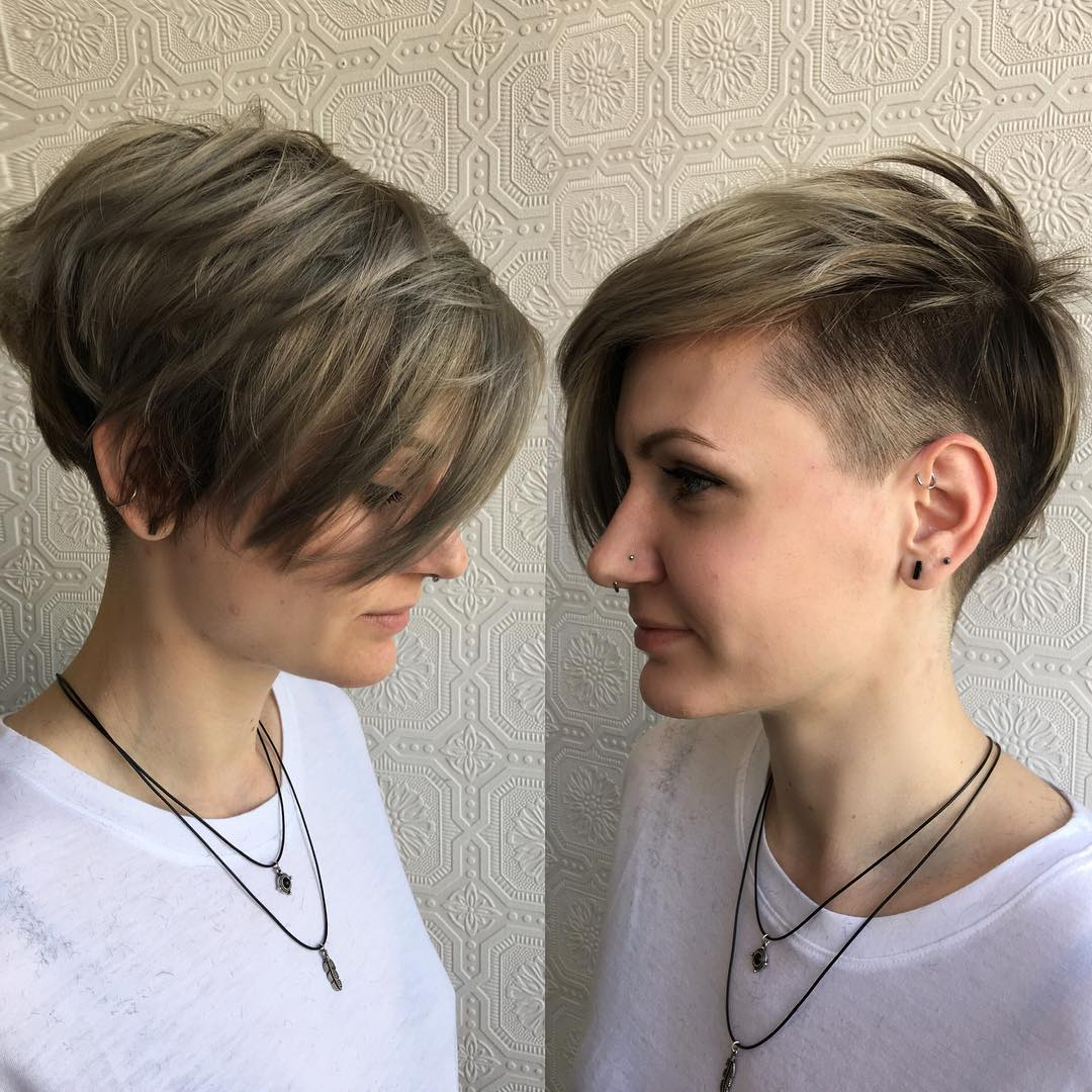 Textured Asymmetrical Undercut Pixie with Ash Blonde Color