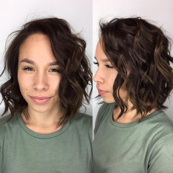 Tousled Layered Bob with Textured Waves and Chocolate Brunette Color Medium Length Hairstyle