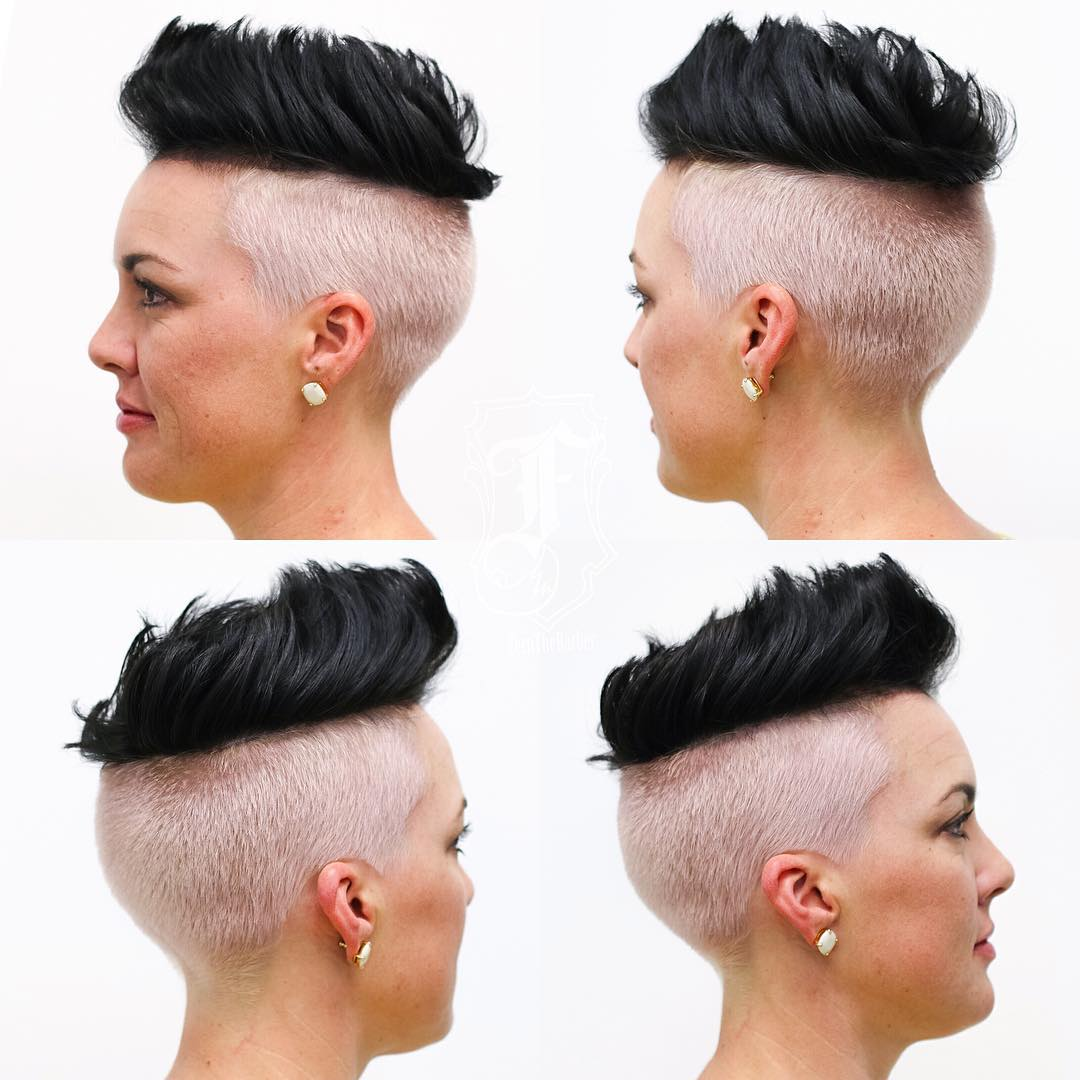 Two Tone Brushed Up Undercut with Black Top Lengths Short Hairstyle