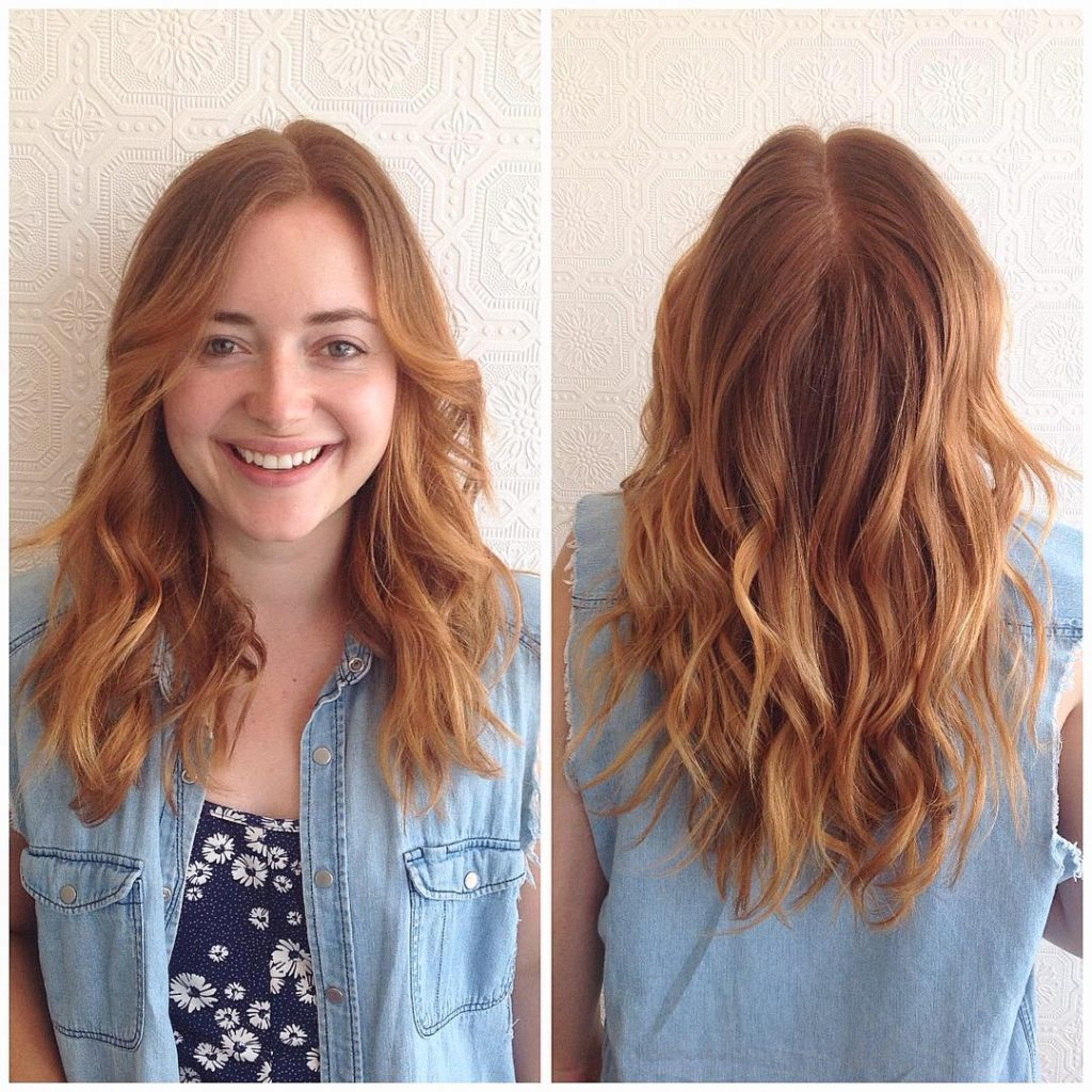 U-Cut Layered Lob with Tousled Wavy Texture and Subtle Copper Ombre Medium Length Hairstyle