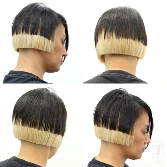 Layered Undercut Bob with Blunt Lines and Bold Block Coloring Short Hairstyle