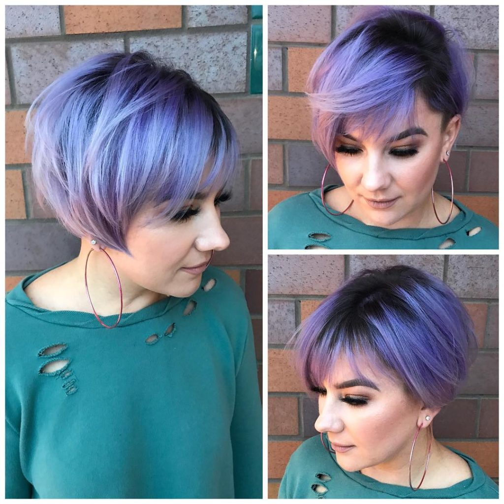 Undercut Pixie-Bob with Side Swept Bangs and Metallic Purple Color with Smokey Shadow Roots Short Hairstyle