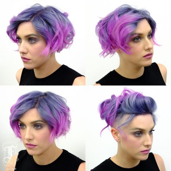 Undercut Soft Blend Bob with Tousled Waves and Violet Ombre Short Hairstyle