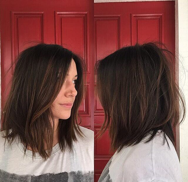 Undone Brunette Lob with Soft Layers and Highlights Medium Length Hairstyle