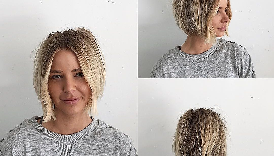Undone Center Parted Blunt Bob with Face Framing Wave and Dark Blonde Color with Highlights Short Hairstyle