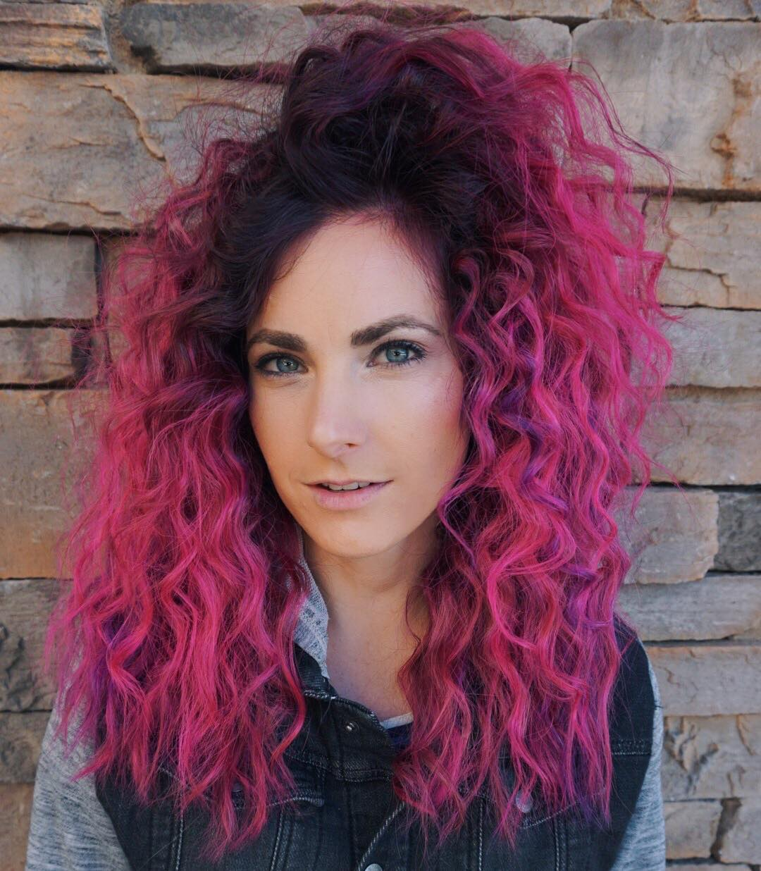 Undone Curly Texture on Seamless Layers with Vibrant Pink Ombre Long Hairstyle