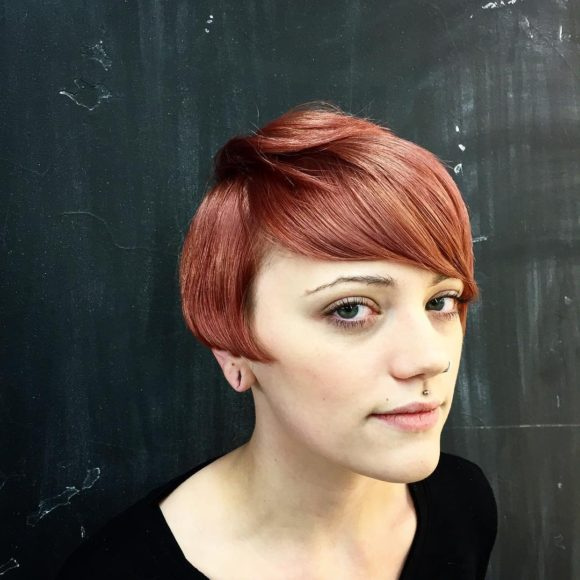 Undone Modern Orchid Bob with Deep Rose Gold Coloring Short Hairstyle