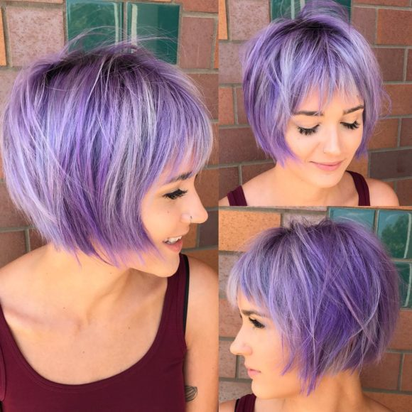 Undone Shaggy Bob with Fringe Bangs and Lilac Color with Silver Highlights Short Hairstyle