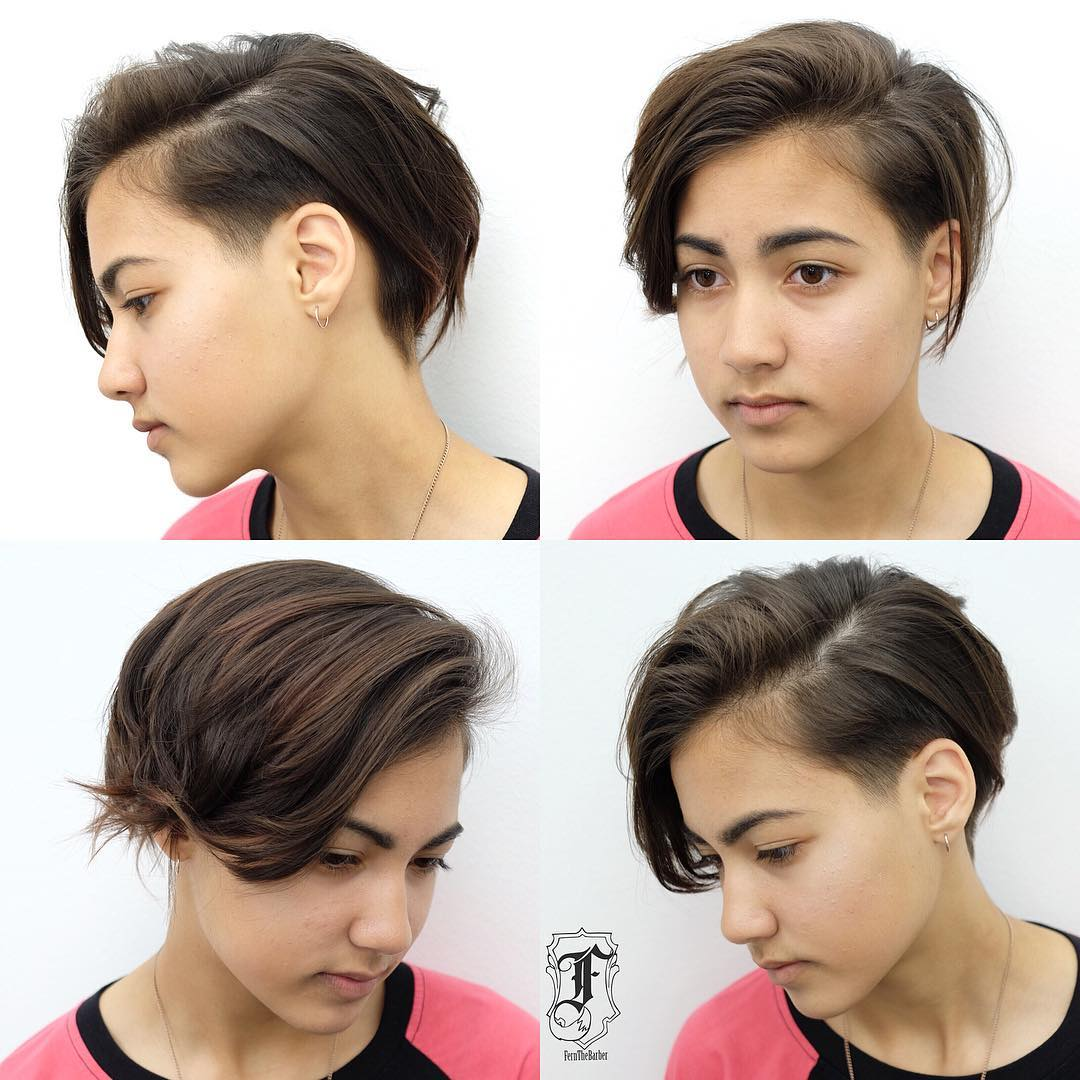 Undone Side Swept Pixie with Tapered Undercut and Brunette Color Short Hairstyle