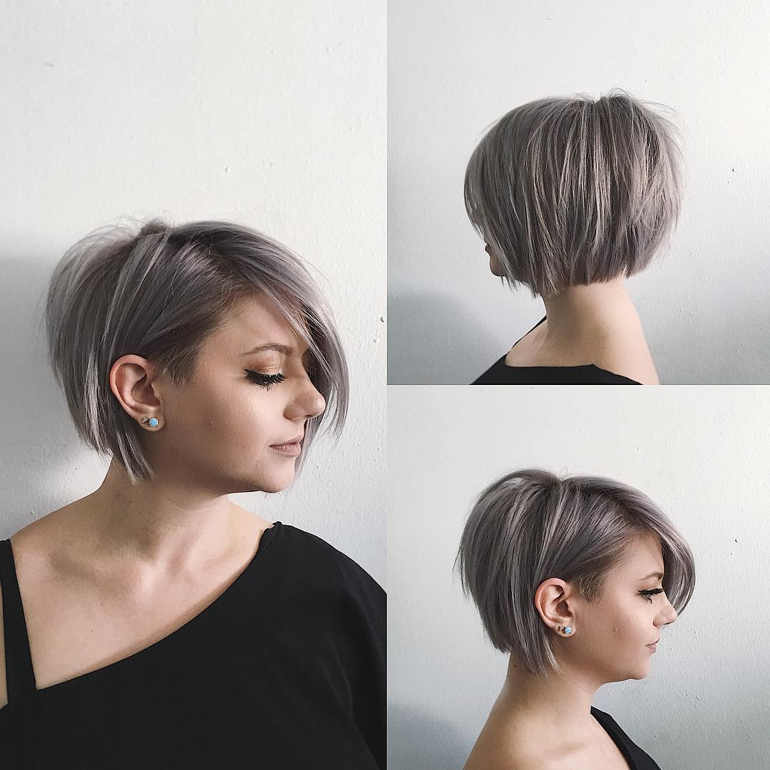 Undone Voluminous Silver Bob with Clean Lines and Side Swept Bangs Short Hairstyle
