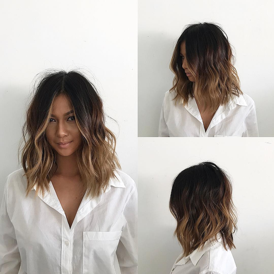 Undone Voluminous Wavy Lob with Brunette Balayage and Soft Layers Medium Length Hairstyle