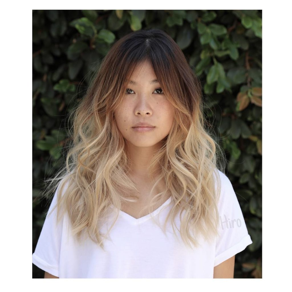 Undone Wavy Layered Cut with Curtained Fringe Bangs and Color Melt Ombre Long Hairstyle