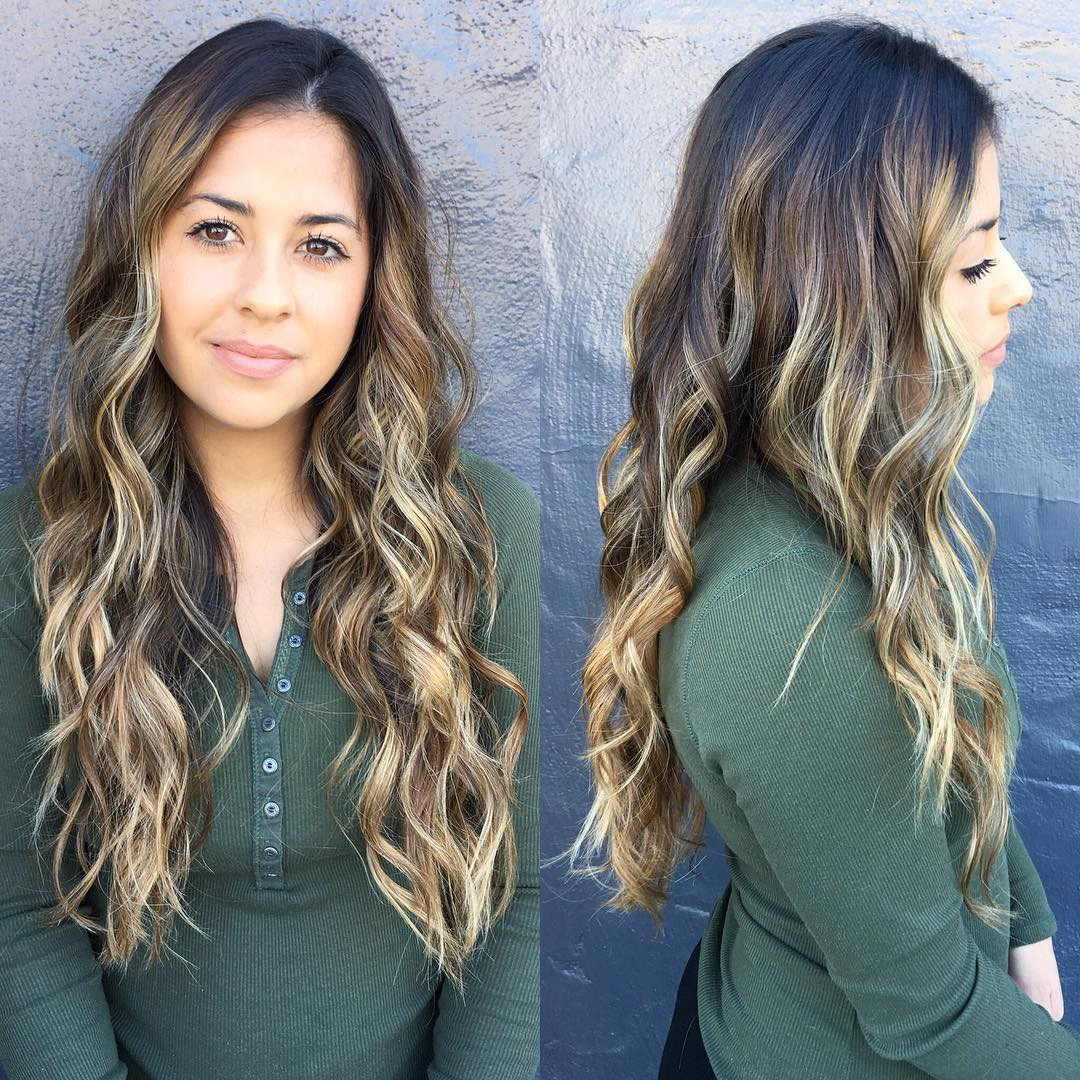 Undone Wavy Texture on Long Layers with Bronde Color Melt Ombre Long Hairstyle