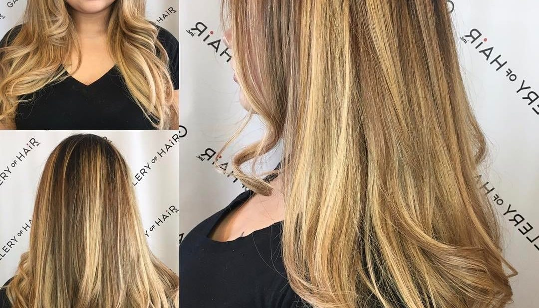 V Cut Layers Soft Waves and Bronde Color Melt Balayage Long Hairstyle