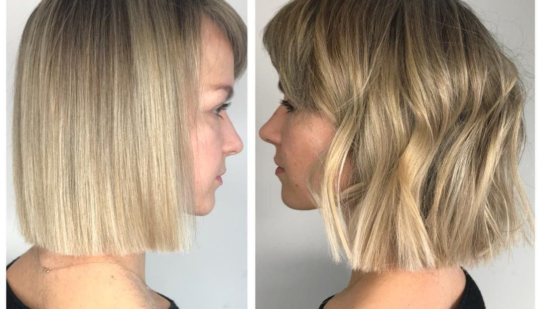 Versatile Blonde Blunt Bob with Side Swept Bangs and Subtle Highlights Medium Length Hairstyle