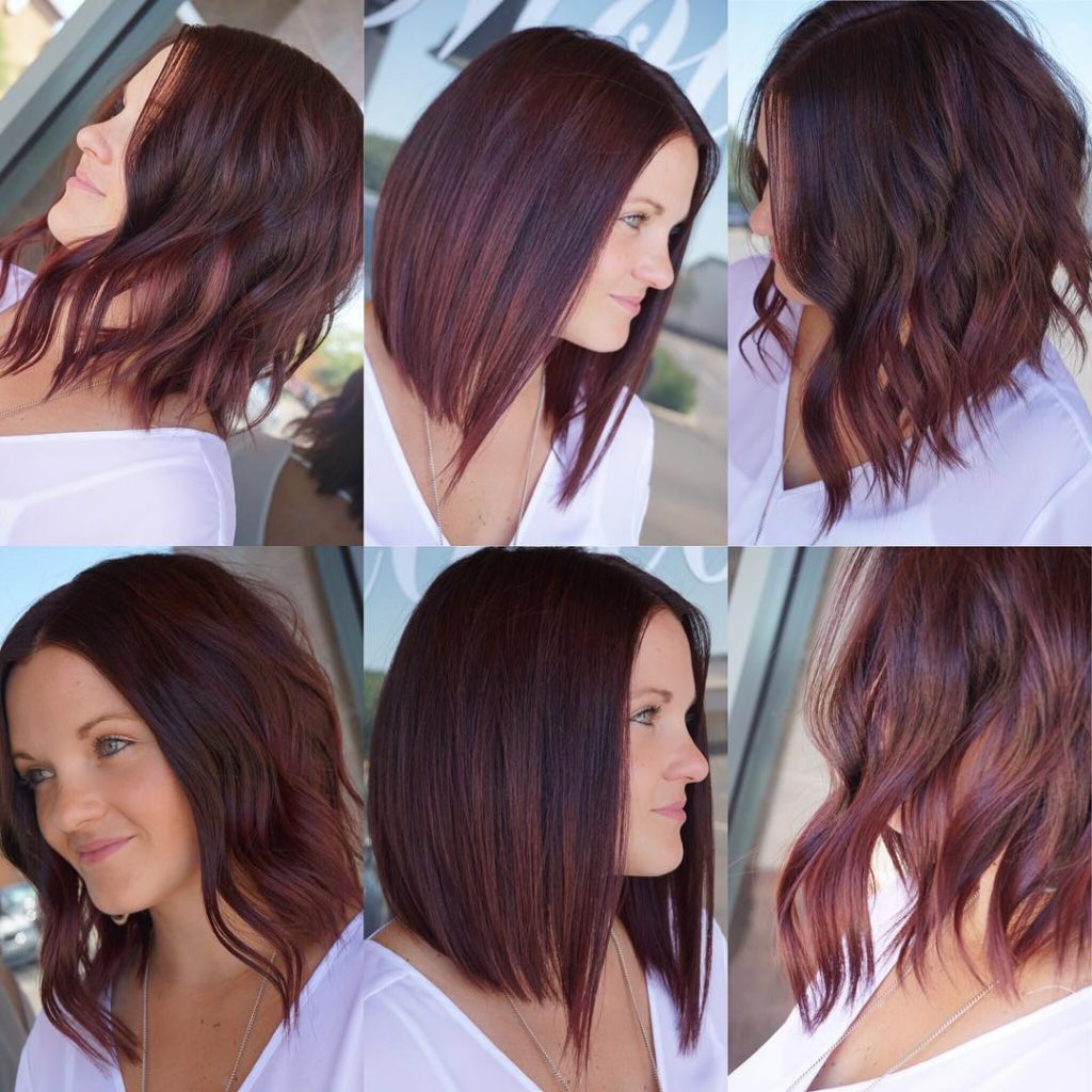 Versatile Sexy Long Bob with Burgundy Color Womens Medium Length Hairstyle