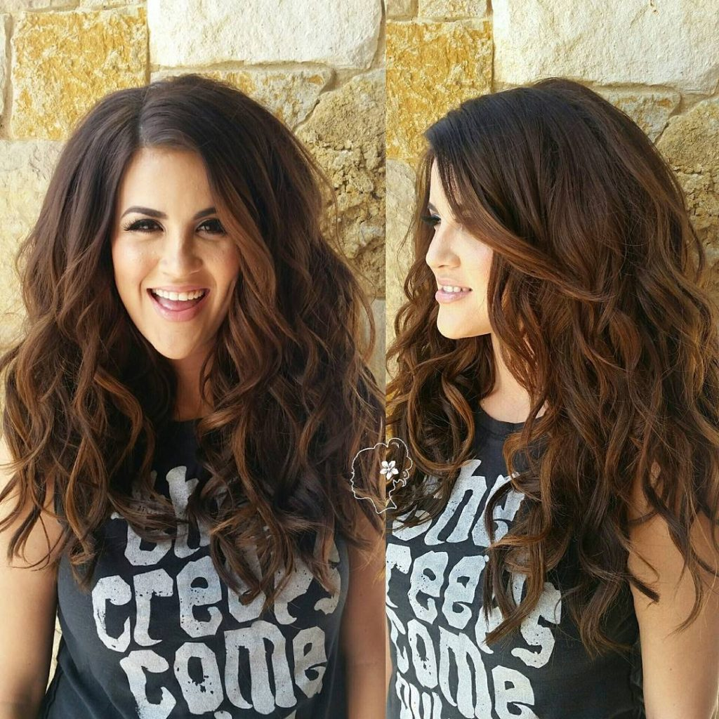 Voluminous Layered Cut with Allover Waves and Subtle Brunette Ombre Color Long Hairstyle