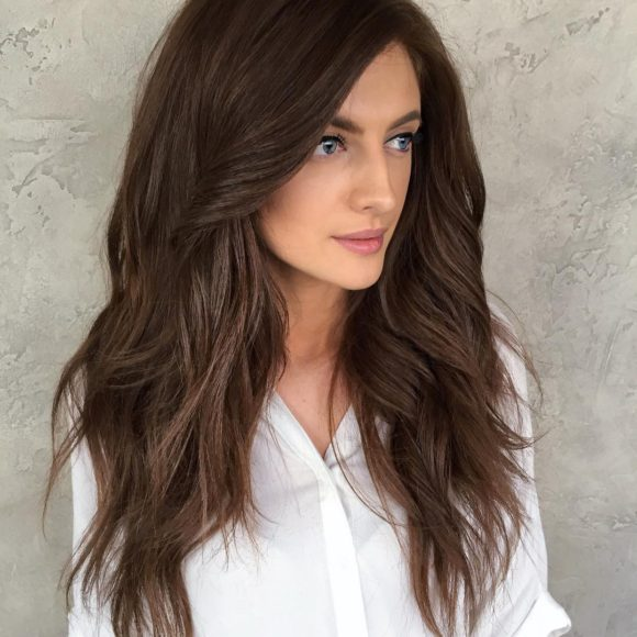 Voluminous Long Layered Hair with Big Messy Waves and Brunette Color Long Summer Hairstyle