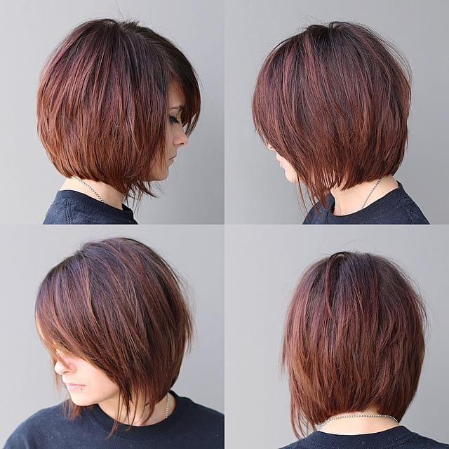 Warm Brunette Shaggy Bob with Fringe and Side Swept Bangs Short Hairstyle