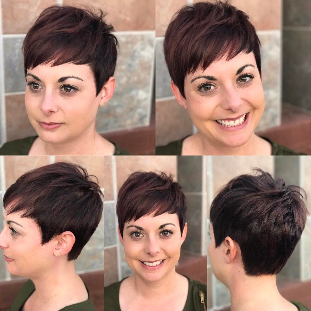 Warm Brunette Textured Pixie Crop with Choppy Asymmetrical Bangs Short Hairstyle