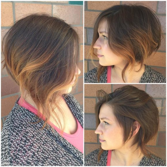 Wavy Brunette Textured Stacked Undercut Bob with Balayage Short Hairstyle