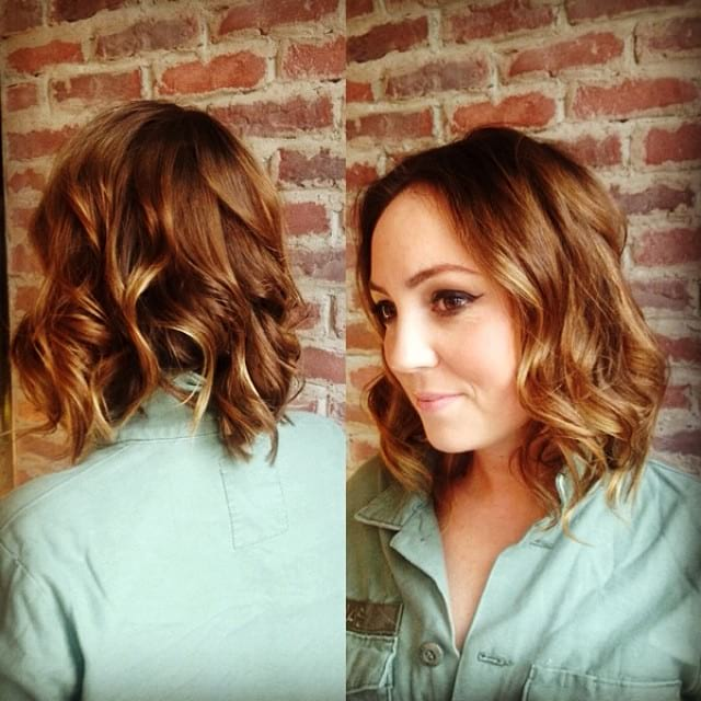 Wavy Layered Bob with Sun Kissed Caramel Balayage Medium Length Hairstyle