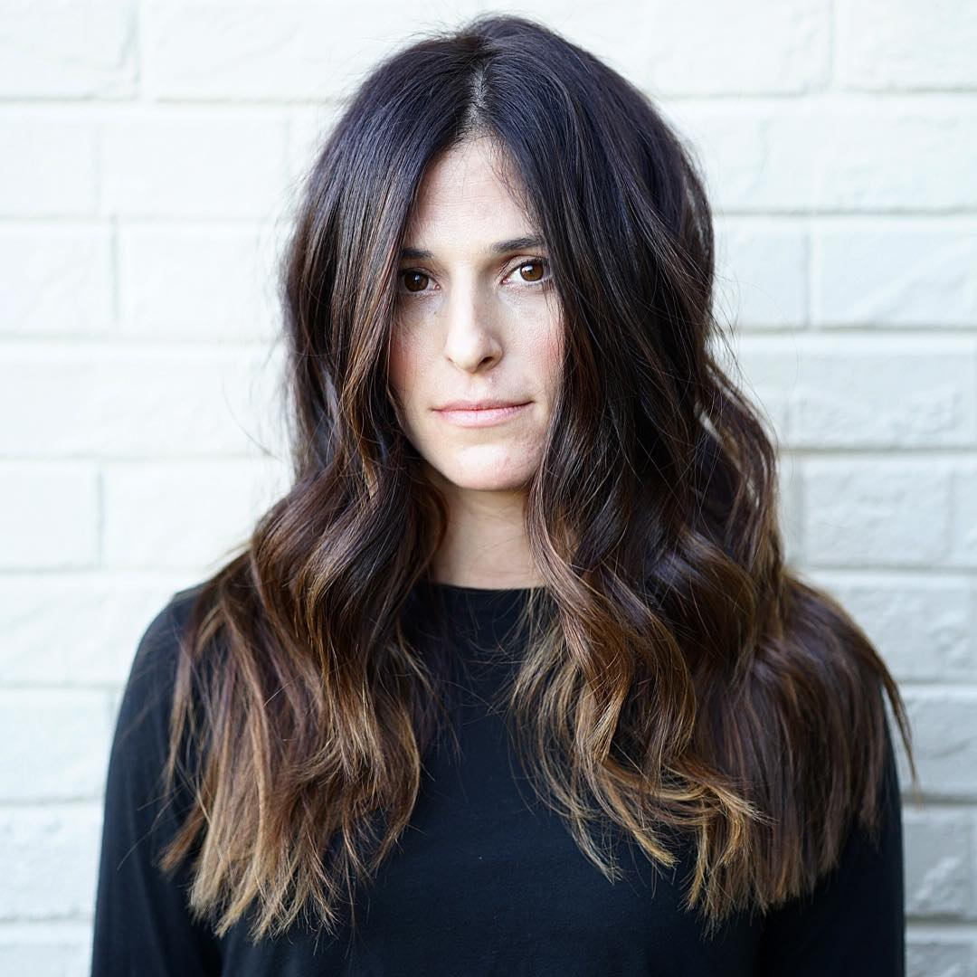 Wavy Layered Cut with Center Part and Brunette Color Melt Long Trendy Fall Hairstyle
