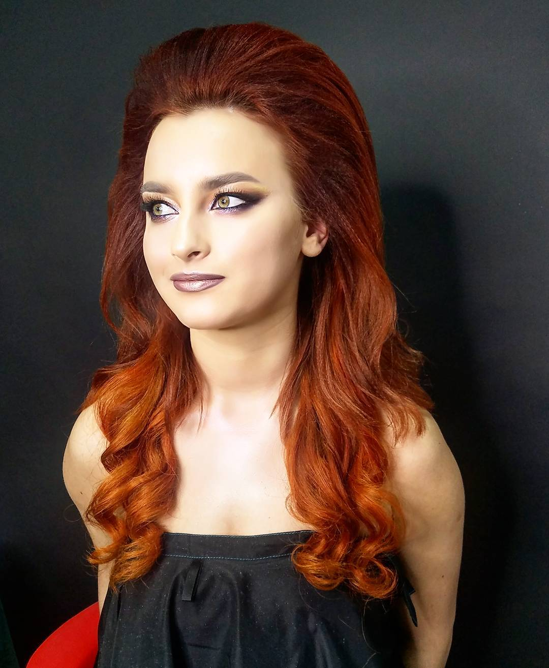 Wavy Layered Cut with Voluminous Backcombed Top and Vibrant Red Ombre for Date Nights or Prom Long Hairstyle