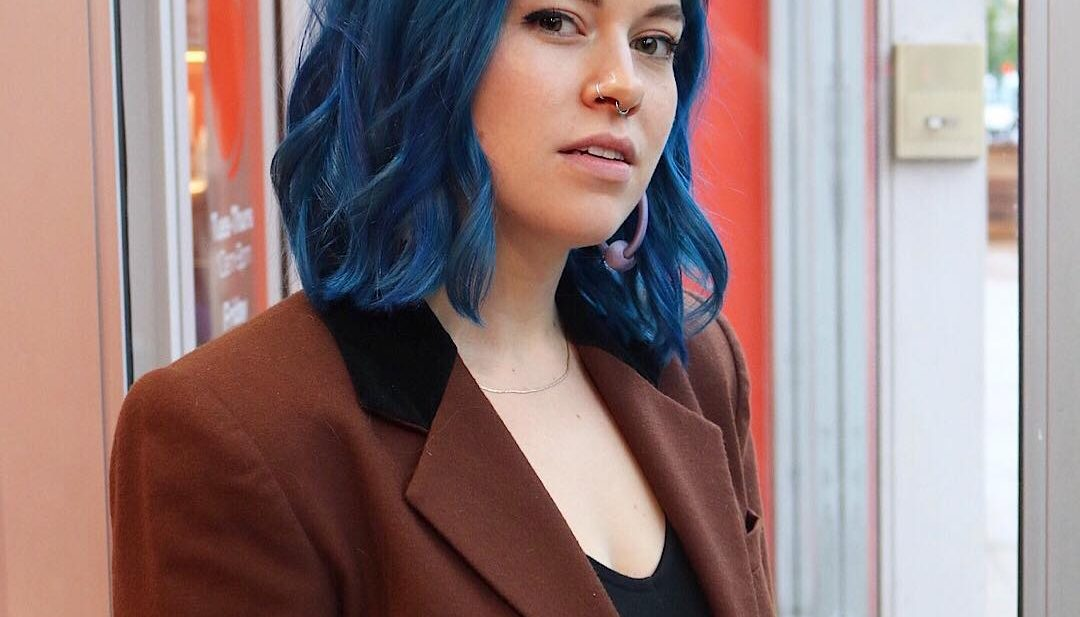 Wavy Lob with Baby Bangs and Deep Cerulean Blue Hair Color Medium Length Fall Hairstyle