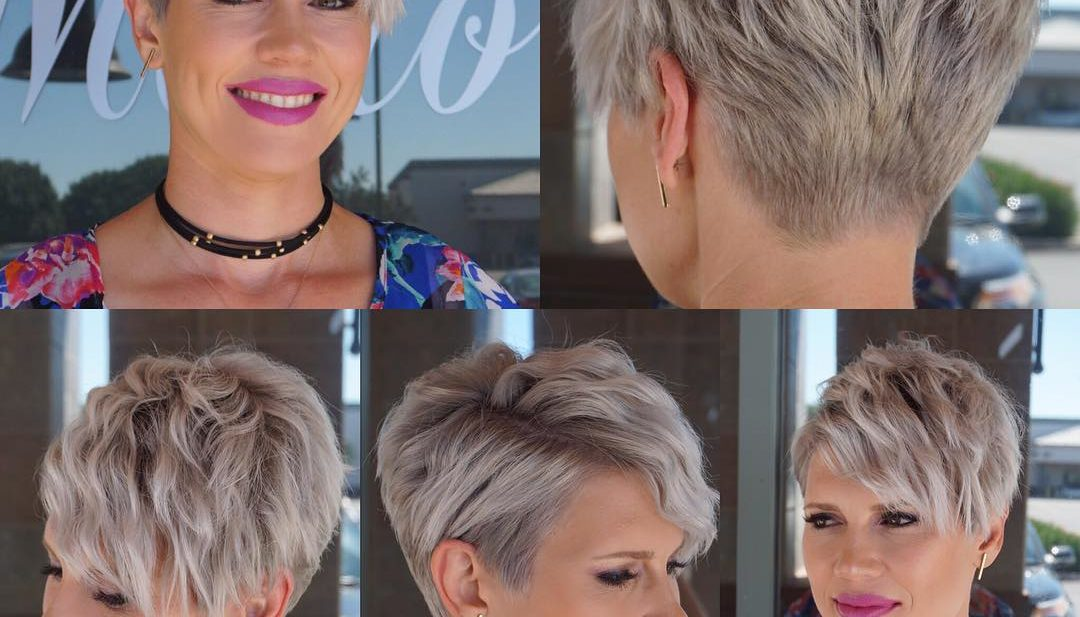 Wavy Platinum Blonde Textured Pixie Crop with Side Swept Bangs Short Hairstyle