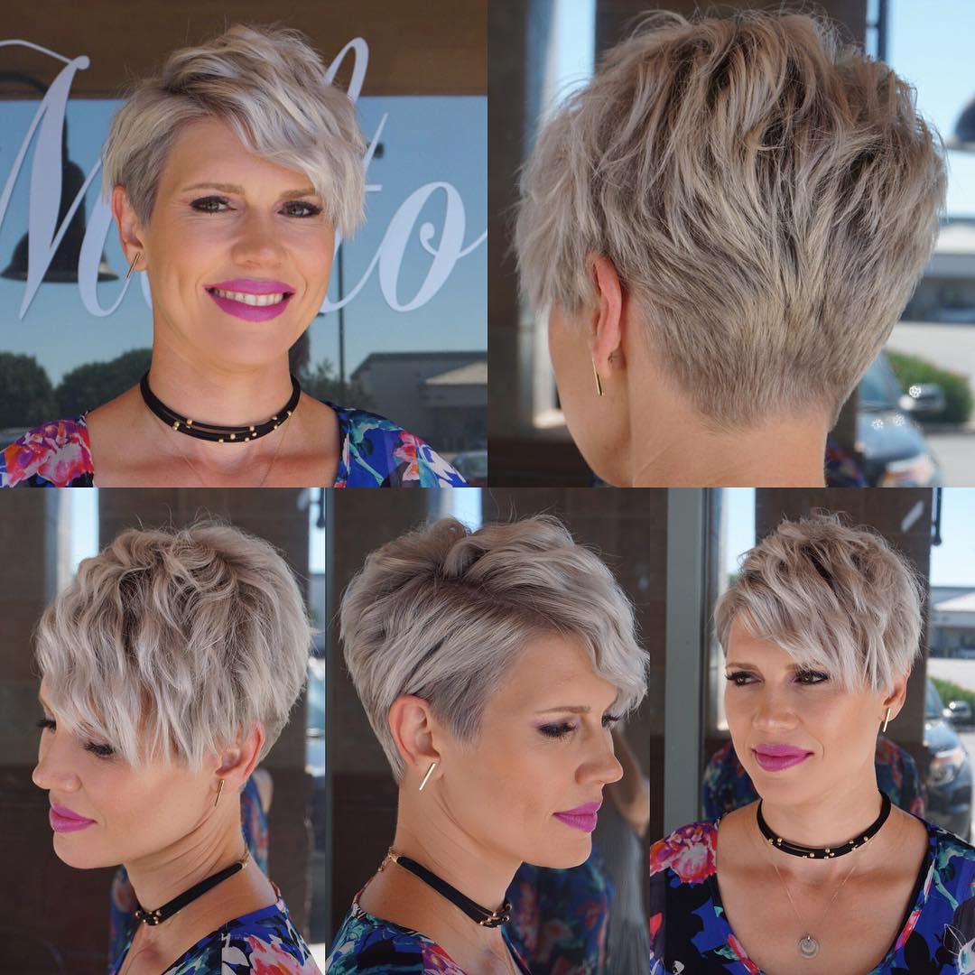 Wavy Platinum Blonde Textured Pixie Crop with Side Swept Bangs Short Hairstyle