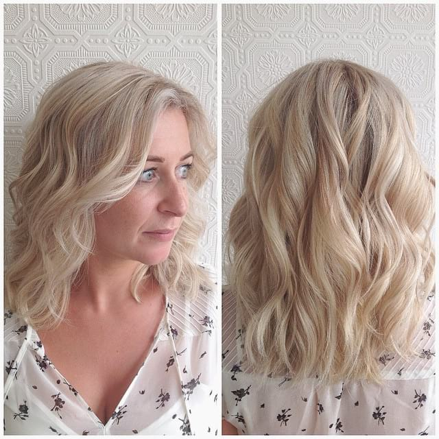 Wavy Platinum Lob with Blunt Ends and Highlights and Lowlights Medium Length Hairstyle