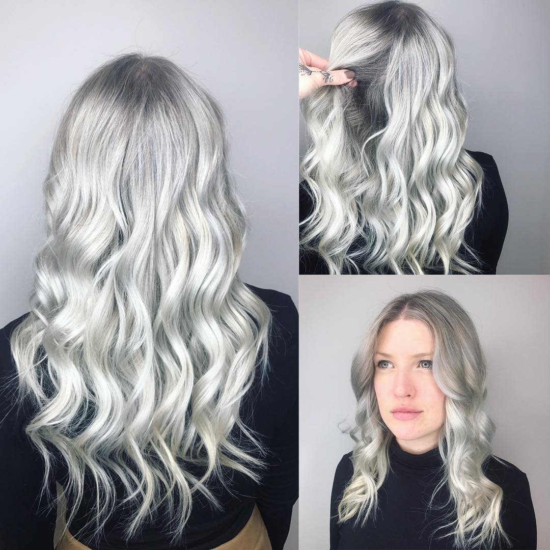 Wavy Textured Layered Cut with Silver Color and Grey Shadow Roots Long Hairstyle