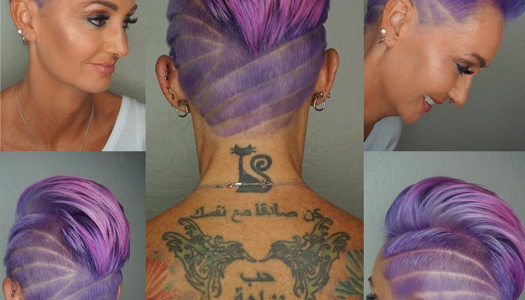 Wild Purple Pink Ombre Faux Hawk Pixie with Shave Art Details Short Hairstyle
