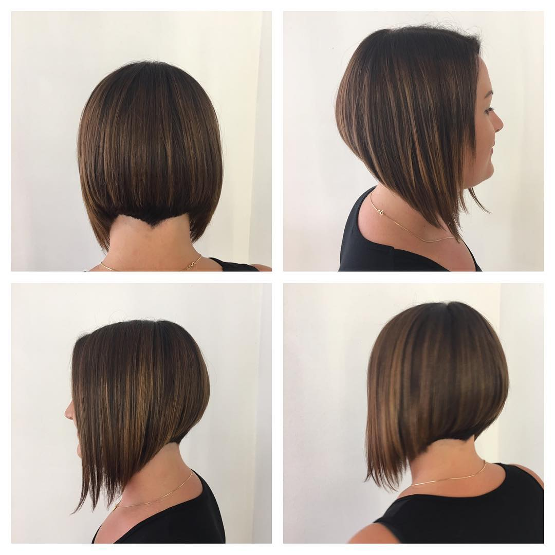 Angled Bob with Nape Detail on Brunette Hair with Balayage