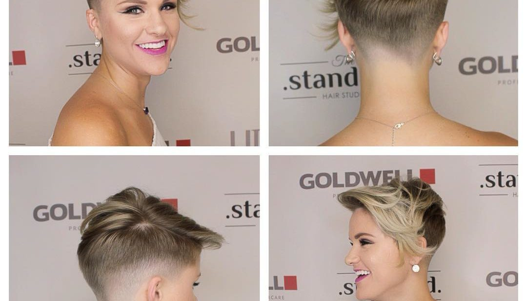 Messy Blonde Asymmetrical Undercut Pixie with Long Fringe