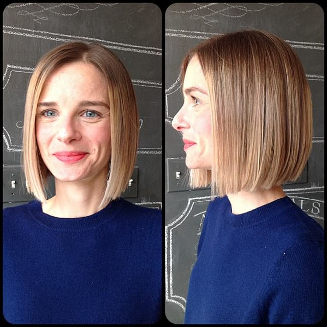 Soft Blonde Ombre on Sleek Blunt Bob