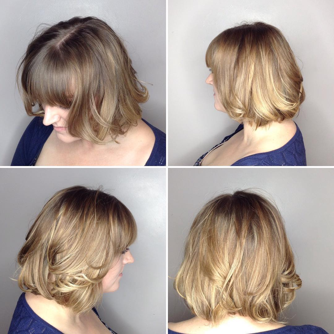 Blunt Blonde Bob with Front Layers and Full Bangs with Curled Ends and Highlights