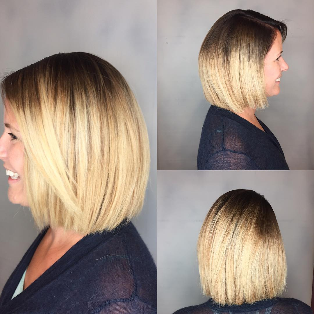 Blunt Blonde Bob with Textured Ends and Front Layers