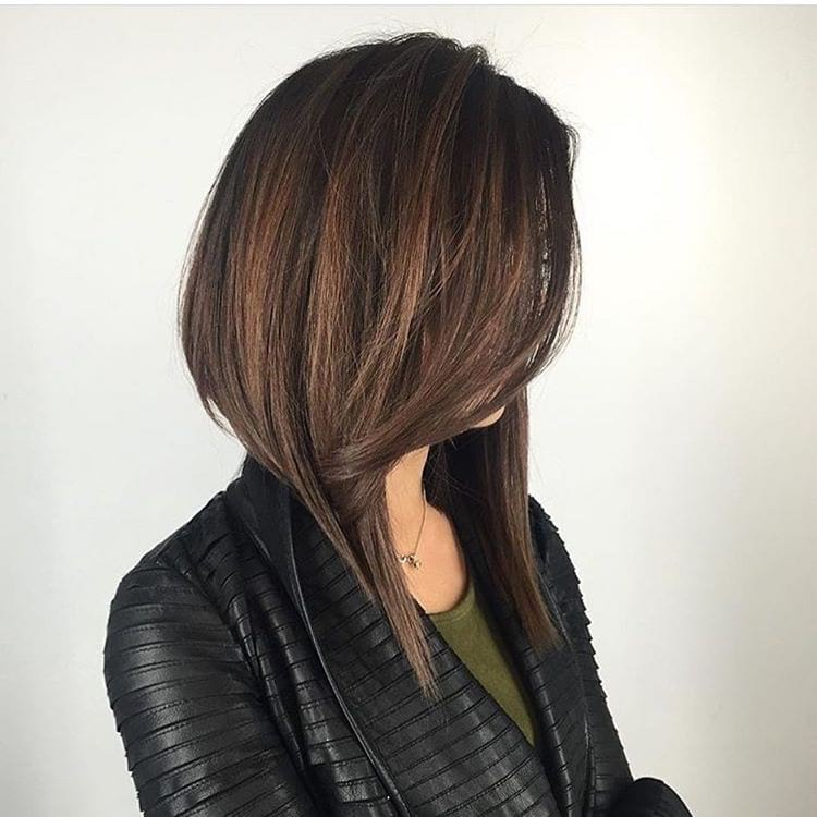 Long Dramatic A Line Bob with Front Layers and Brunette Color with Highlights