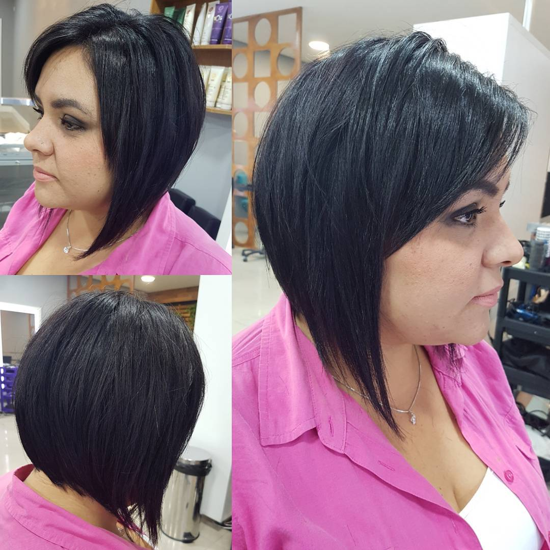 Short Angled Bob with Front Layers and Side Swept Bangs