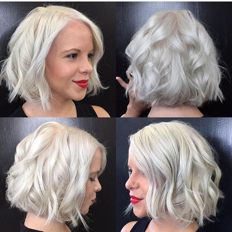 Short Platinum Wavy Blunt Bob - The Latest Hairstyles for Men and Women (2020) - Hairstyleology